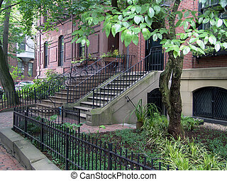 boston, treppe, zaun, brownstones
