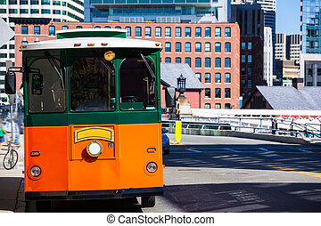 Boston trolley at Congress Street bridge in Massachusetts...