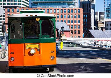 Boston trolley at Congress Street bridge in Massachusetts ...