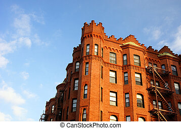 ornately carved row houses on newbury street in boston looking like a castle