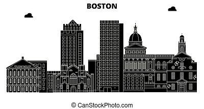 Boston, United States, vector skyline, travel illustration, landmarks, sights.