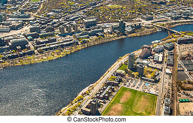 Boston University, Charles River, and MIT aerial