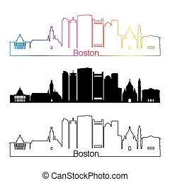 Boston V2 skyline linear style with rainbow - Baltimore...