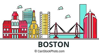 boston, ville, skyline.