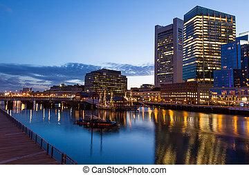 Boston waterfront by night