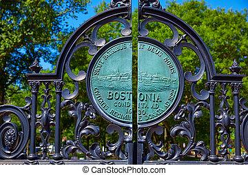 boston wspólny, park, arlington, brama
