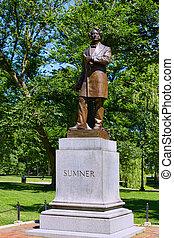 boston wspólny, park, sumner, pomnik