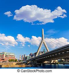 boston, zakim, bro, ind, bunker høj, massachusetts