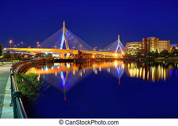 boston, zakim, puente, ocaso, en, massachusetts