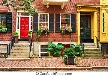 boston, zeebaken, straat, heuvel, buurt