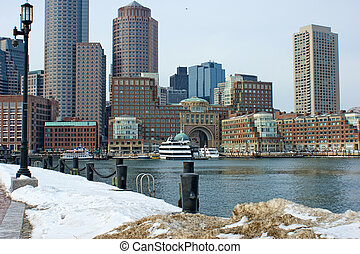 bostons Rowes wharf with ships in winter - View from walkway...