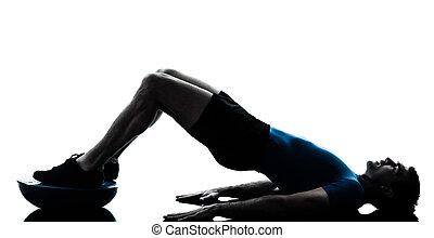 bosu, genomkörare, exercerande, fitness, man, ställing