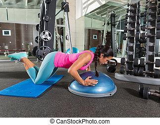 Bosu knees push up push-up woman at gym