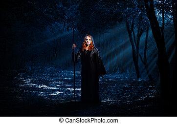 boszorkány, erdő, éjszaka