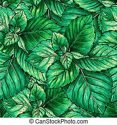 botánica, o, hierba, objeto, menta, menta verde, planta, tema, seamless, té, repeating., pattern., menta, follaje verde