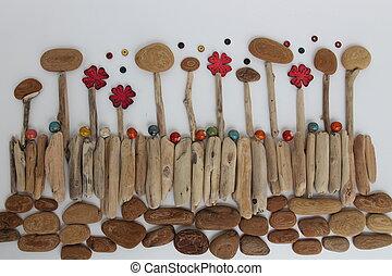 botánica, ramas, naturaleza, -, cerámico, árbol, ambiente, corteza, flores, beads.