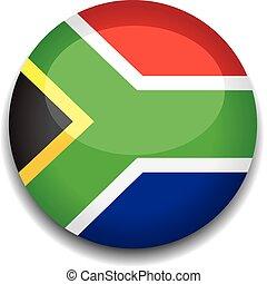 botão, áfrica, bandeira, sul
