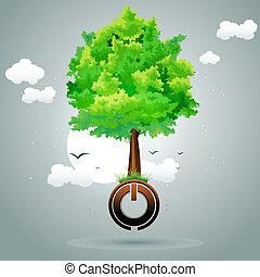 botão, árvore, poder