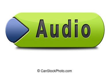 botão, áudio