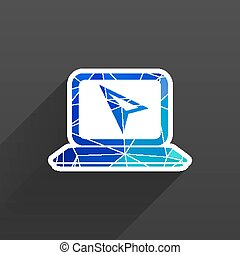 botão, ícone, laptop, original, ilustração