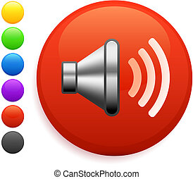 botão, ícone, orador, redondo, internet