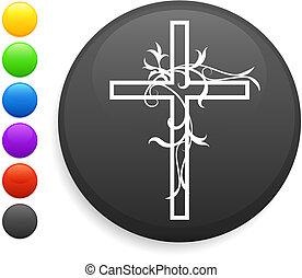 botão, ícone, redondo, crucifixos, internet