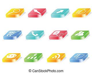botão, 3d, ícone