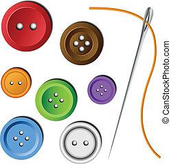 botão, agulha, jogo, roupas