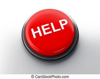 botão, ajuda, vermelho