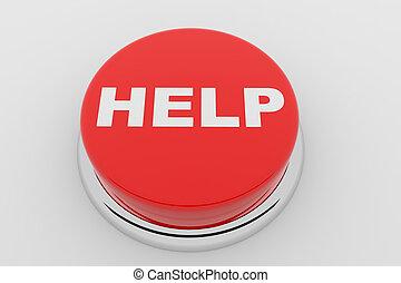 botão, -, ajuda, vermelho