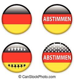 botão, alemanha, eleições, voto, vazio, emblema
