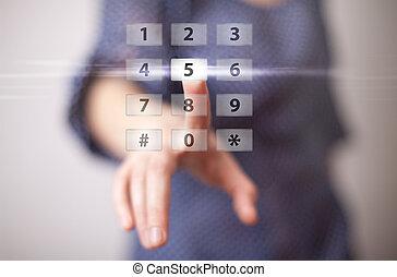 botão, apertando, mão, digital