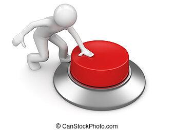 botão, apertando, vermelho, emergência, homem