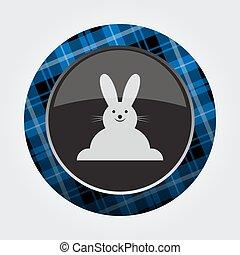 botão, azul, pretas, tartan, -, sorrindo, coelho, ícone