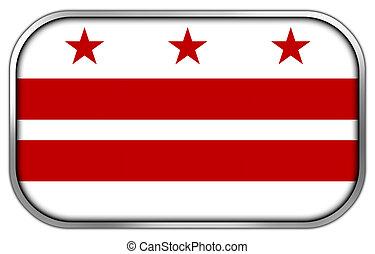 botão, bandeira dc washington, lustroso, retângulo