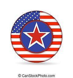 botão, bandeira, eua