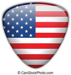 botão, bandeira, eua, lustroso