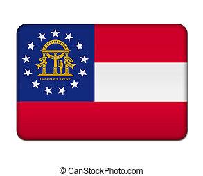 botão, bandeira geórgia, estado