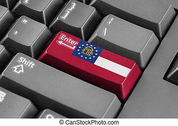 botão, bandeira geórgia, estado, entrar