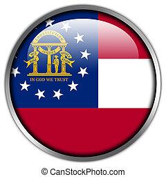 botão, bandeira geórgia, estado, lustroso