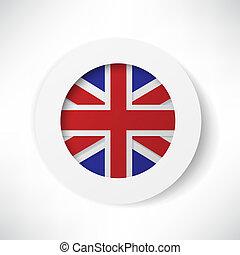 botão, bandeira, inglaterra