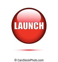botão, branca, lustroso, vermelho, lançamento