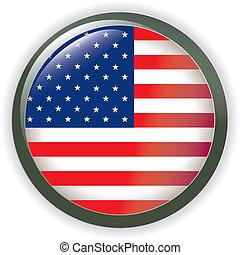botão, brilhante, bandeira, eua