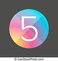 botão, cinco, número, coloridos