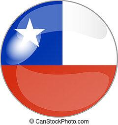 botão, com, bandeira, chile
