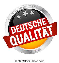 botão, com, bandeira, deutsche, qualität