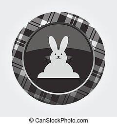 botão, com, branca, pretas, tartan, -, feliz, rabbiticon