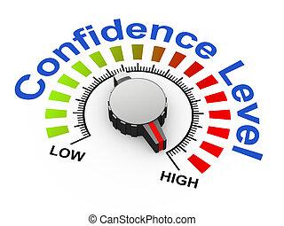 botão, confiança, 3d, -, nível