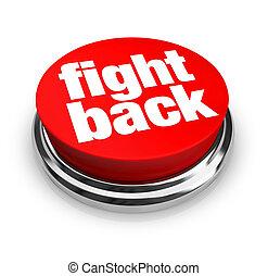 botão, -, costas, vermelho, luta