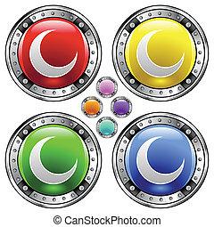 botão, crescente, coloridos, lua
